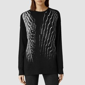 (nwt) AllSaints Piuma Black Print Sweatshirt